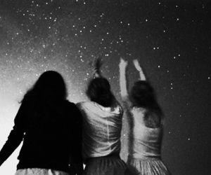 girl, stars, and friends image