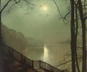 John Atkinson Grimshaw, moonlight on the lake, and roundhay park leeds image