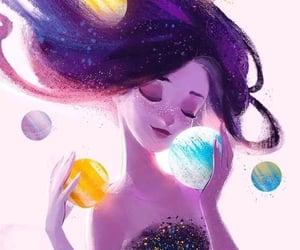 art, galaxy, and girl image