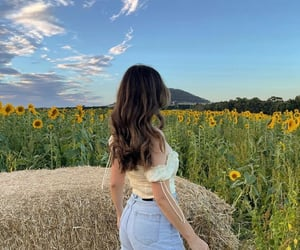 girl, sunflowers, and countryside image