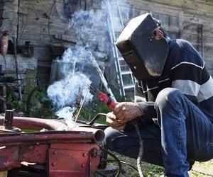 farming, farmer, and welder image