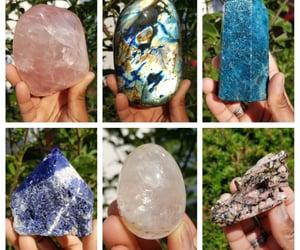 crystals, rose quartz, and clear quartz image