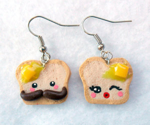 cute, earrings, and toast image