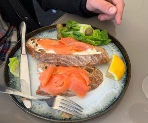 salmon, salmon sandwich, and sour dough bread image