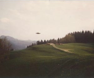 forest, ufo, and aliens image