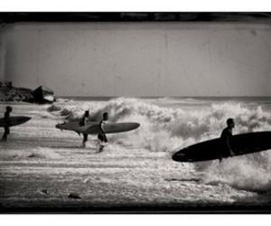 black and white, photo, and surf image