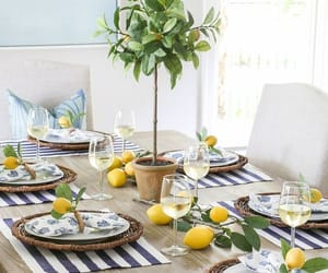 dinner party, lemons, and table image