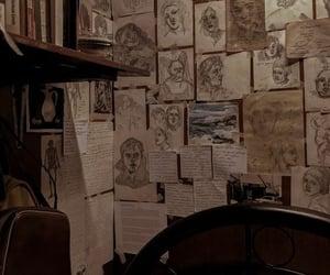 dark academia, drawing, and art image