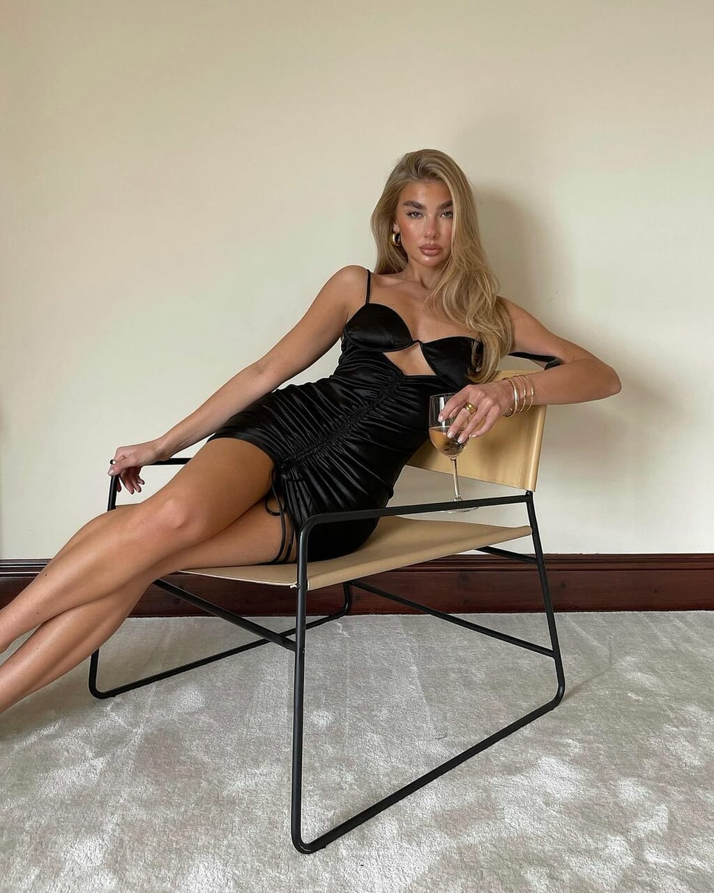 accessories, black dress, and champagne image