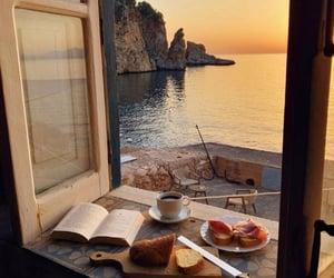 coffee, sea, and book image