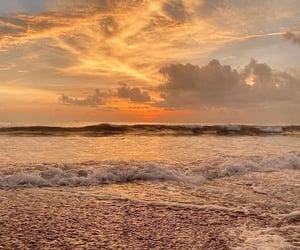 beach, sunset, and sea image