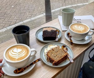 cake, coffee, and fashion image