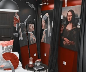 aesthetic, mona lisa, and red image