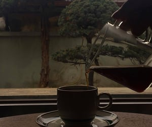 coffee, tea, and dark aesthetic image