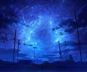 blue, estrellas, and night image