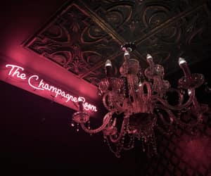bar, champagne, and chandelier image
