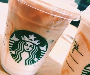 coffee, iced coffee, and starbucks image