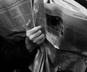 newspaper, black and white, and photography image