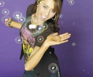 bubbles, miley cyrus, and purple image