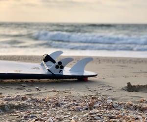 beach, surfboard, and sea image