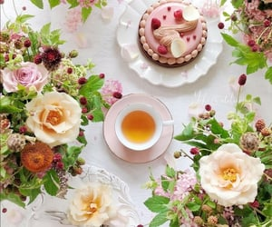 cup of tea, flowers, and tea time image