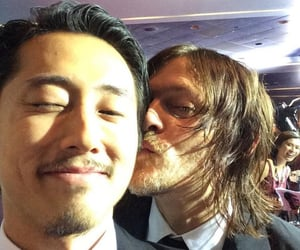 norman reedus, twd, and steven yeun image