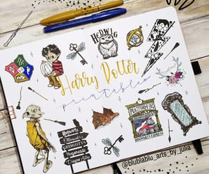 agenda, doodle, and harry potter image