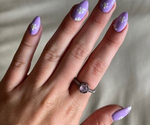 flowers, nails, and purple image