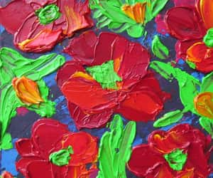 etsy, poppies painting, and poppies oil painting image