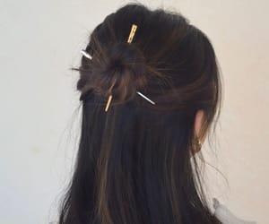 brown, hair, and hair pins image