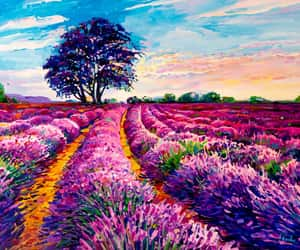 art, artwork, and lavender image