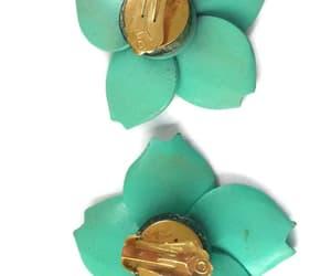 big earrings, mint green, and vintage earrings image