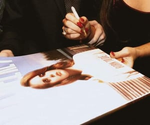 autograph, black dress, and Queen image