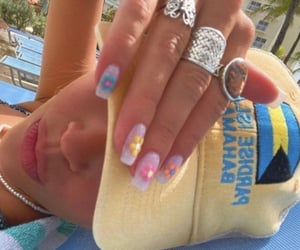 colorful nails, nail art, and pearl necklace image