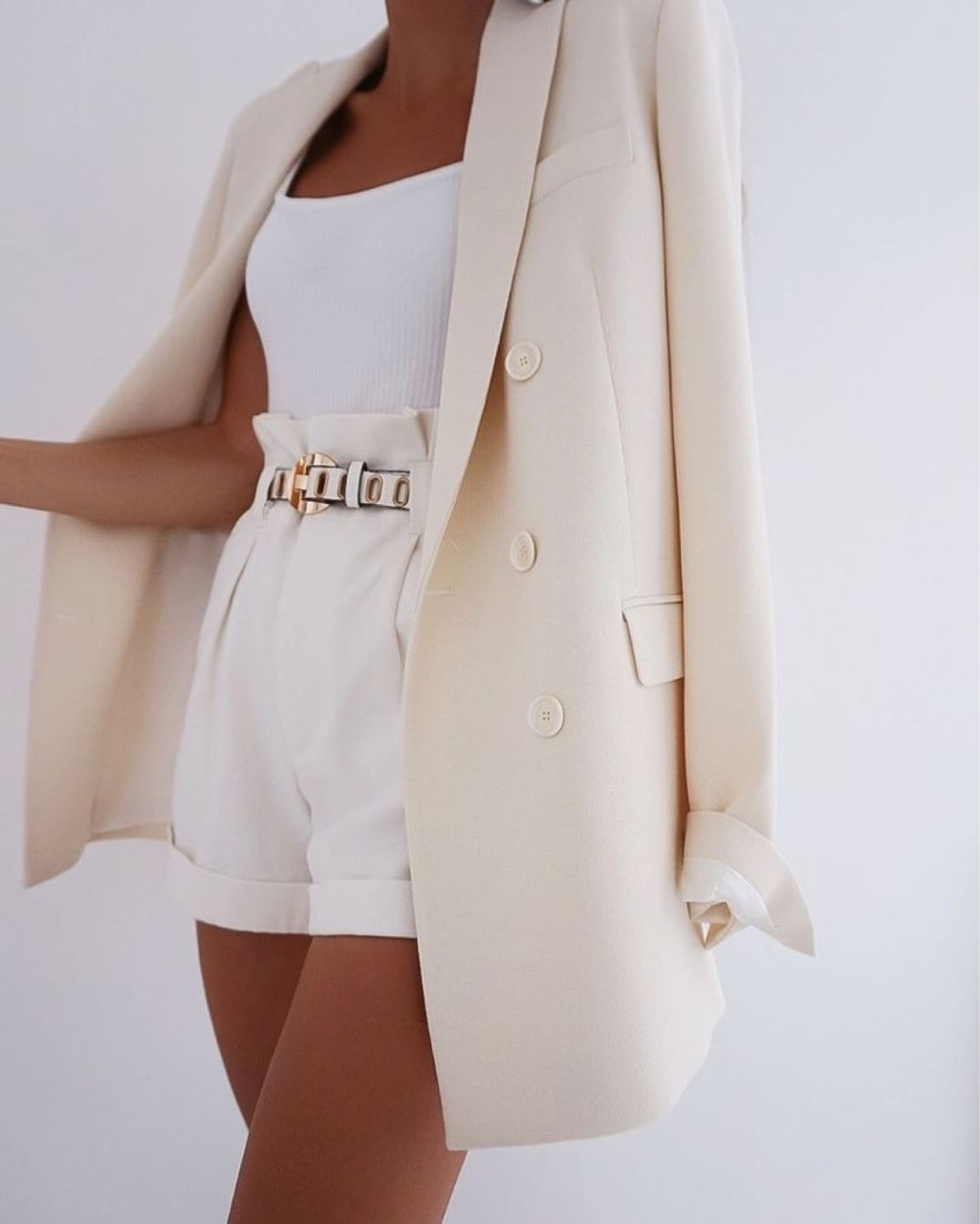blazer, outfit, and shorts image