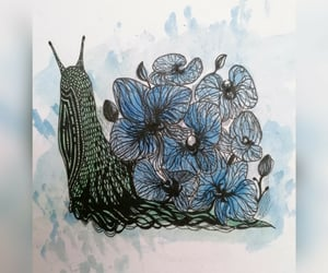 blue flower, graphic art, and orhideja image