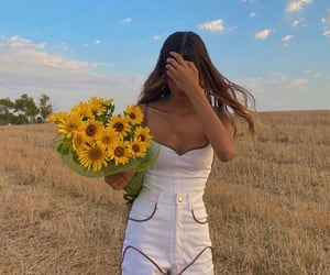 flowers, sunflowers, and fashion image
