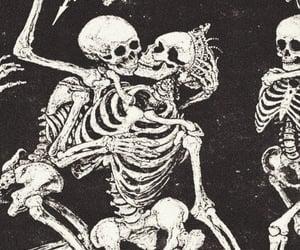 skeleton and black image