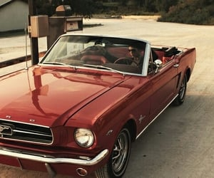 car, mustang, and red image