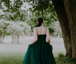 green dress, tulle dress, and emerald dress image