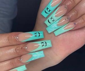 blue nails, nail art, and acrylic nails image