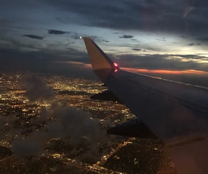 airplane, city, and lights image