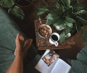 book, coffee, and flower image