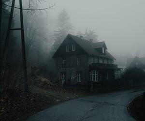 house, fog, and autumn image