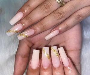acrylics, gold, and acrylic nails image