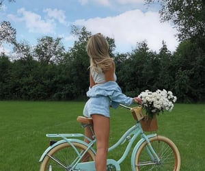 blue, countryside, and bicycle image