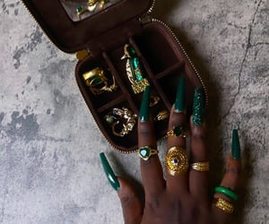 emerald, jewelry, and gold image