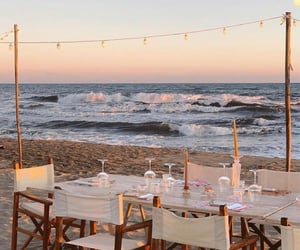 beach, dinner, and family image