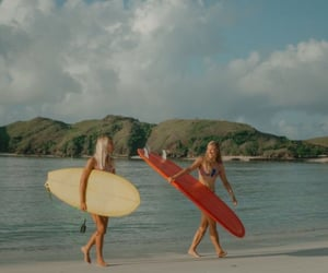 girl, ocean, and surfing image