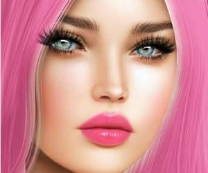 eyelash, makeup, and pinkhair image